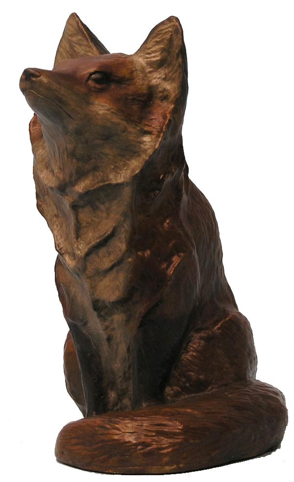 turner sculpture  fox and wolf sculptures  sitting fox